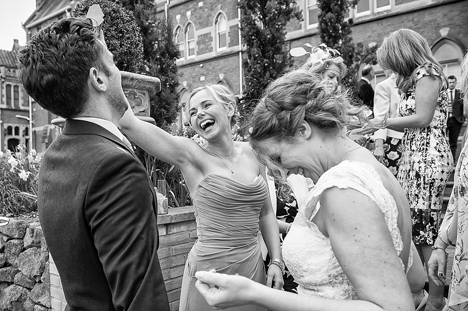 Black & White Confetti Shot Heart Weddings Photography