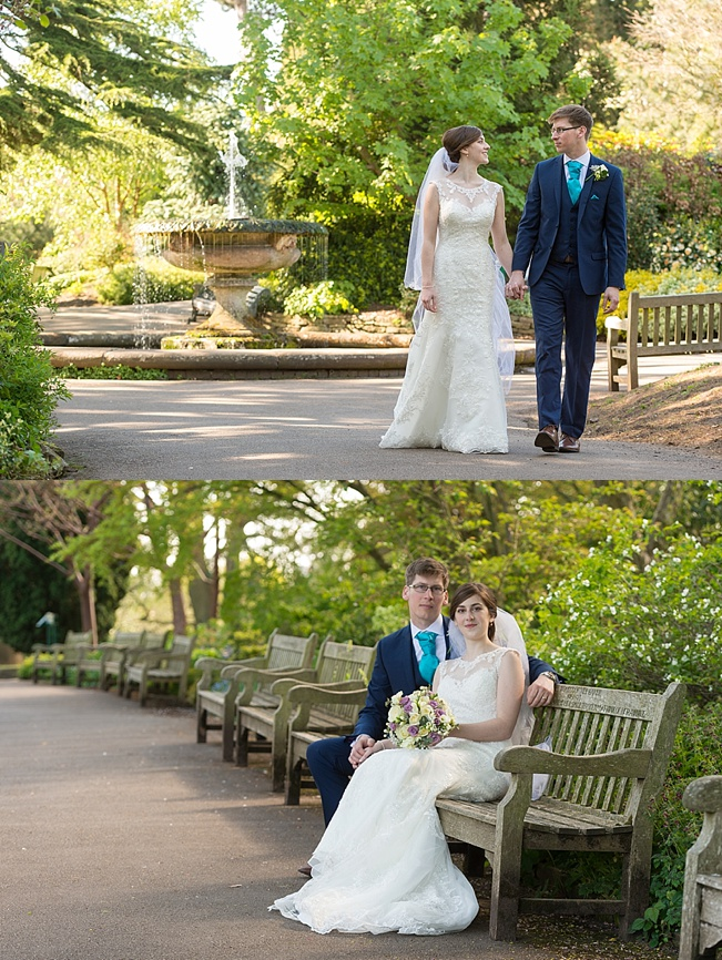 Bride and Groom standing in the Birmingham Botanical Gardens