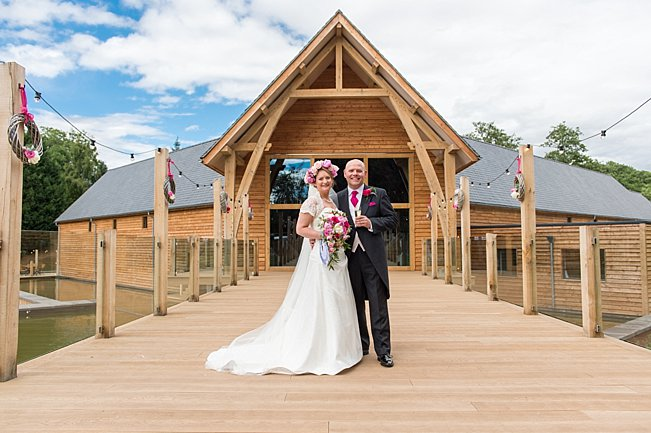 Bride and Groom outside the Mill Barns