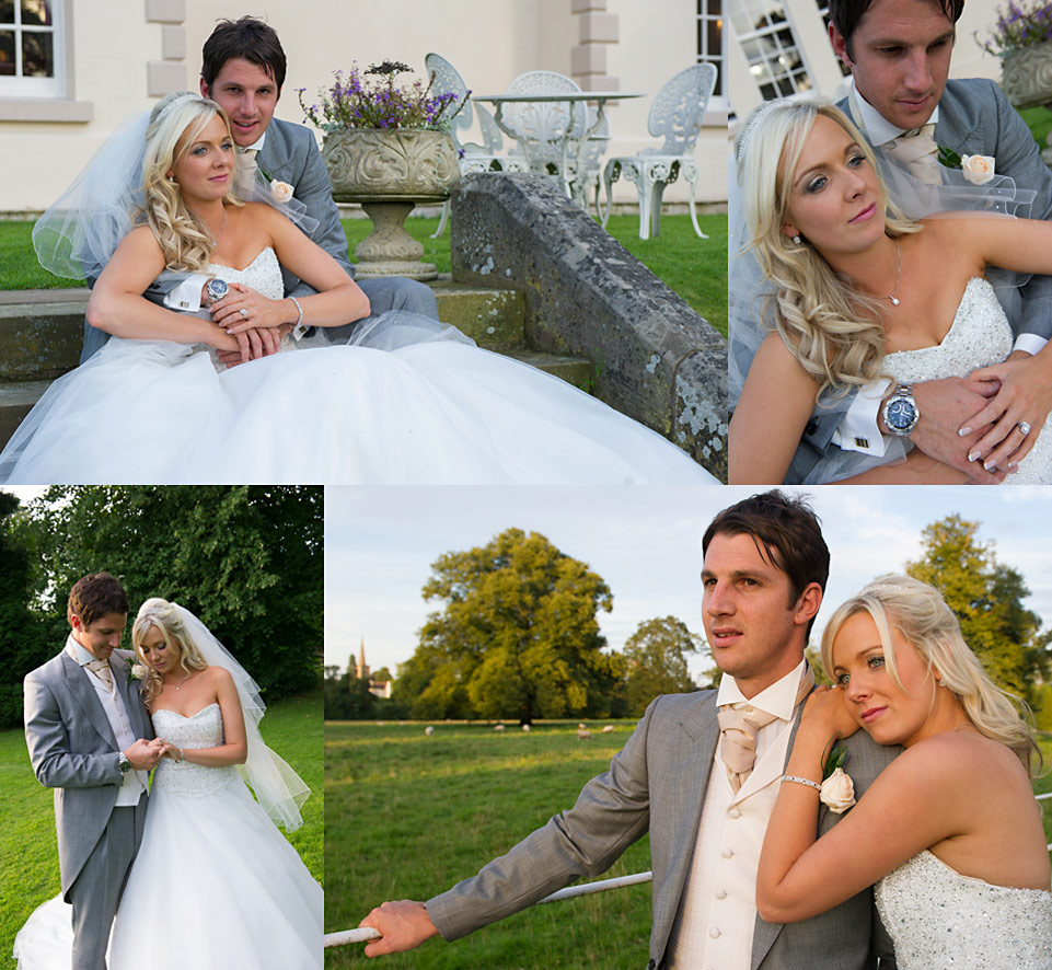 Montage of photographs from Jessica and chris wedding day at Brockencote