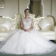 Bride sitting in her wedding dress